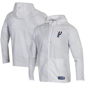 Men's Under Armour White San Antonio Spurs Combine Authentic Holographic Woven Full-Zip Jacket