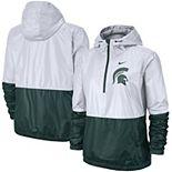 Women's Nike White/Green Michigan State Spartans Woven Anorak Half-Zip Pullover Jacket