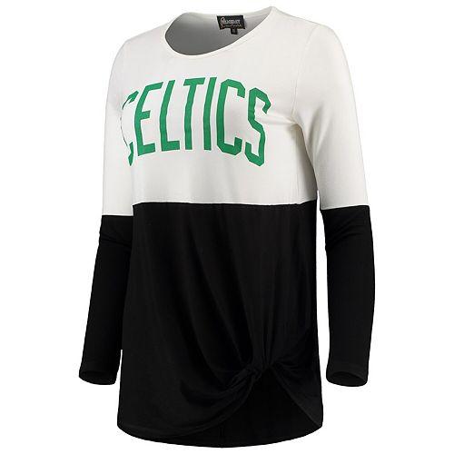 Women S Black Boston Celtics In It To Win It Colorblock Long Sleeve T Shirt