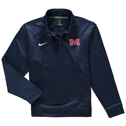 Youth Nike Navy Ole Miss Rebels Therma Quarter-Zip Performance Jacket