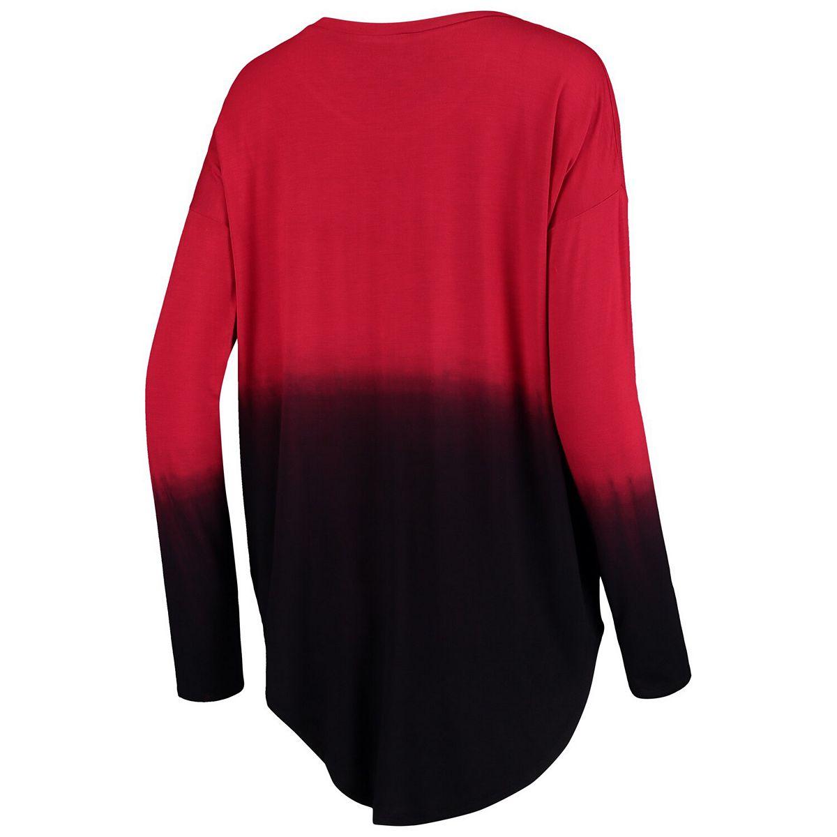 Women's Red Portland Trail Blazers Own It Ombre Long Sleeve Tunic T-Shirt fD3CA