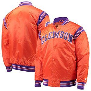 Men's Starter Orange Clemson Tigers The Enforcer Satin Full-Button Jacket