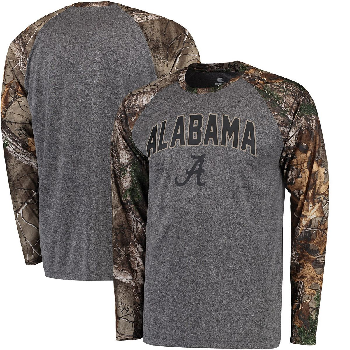 Men's Colosseum Heathered Gray/Realtree Camo Alabama Crimson Tide Break Action Long Sleeve Raglan T-Shirt 7cFhc