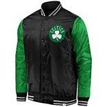 Men's Fanatics Branded Black/Kelly Green Boston Celtics Iconic Tackle Twill Satin Jacket