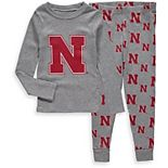 Toddler Heathered Gray Nebraska Cornhuskers Long Sleeve T-Shirt & Pant Sleep Set