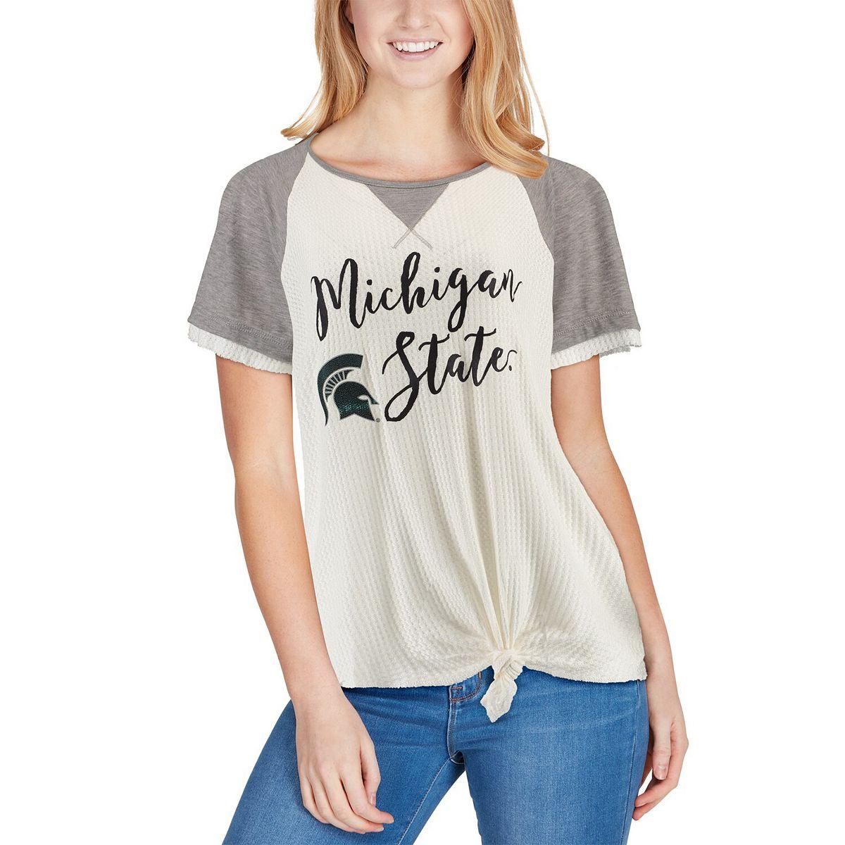 Women's Cream/Gray Michigan State Spartans Believe It Or Not Raglan Waffle T-Shirt nHPw1