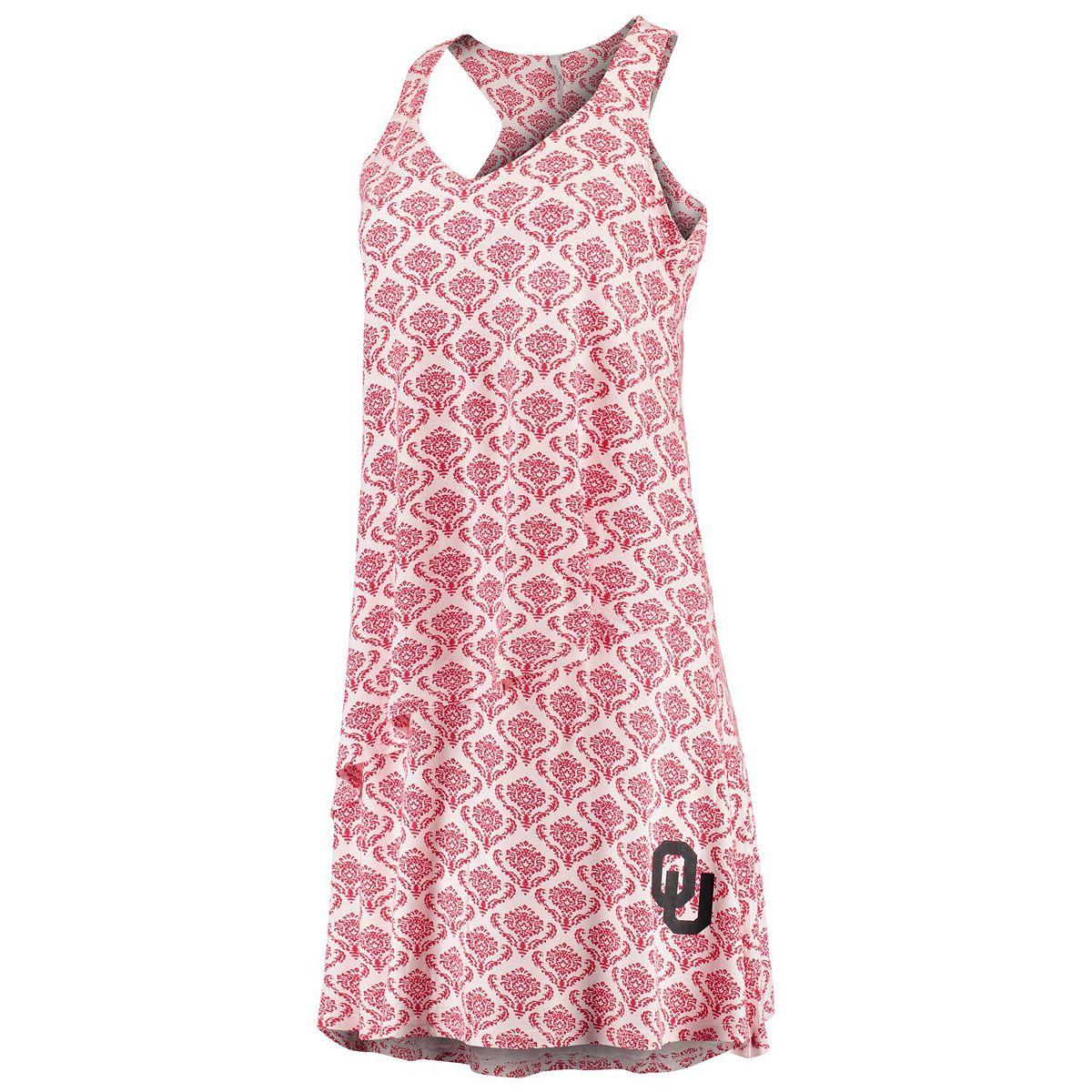 Women's Crimson Oklahoma Sooners Flowy Tiered Pattern Dress 2oj52