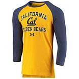 Men's Under Armour Gold/Navy Cal Bears Freestyle Tri-Blend Raglan Half Sleeve Performance T-Shirt