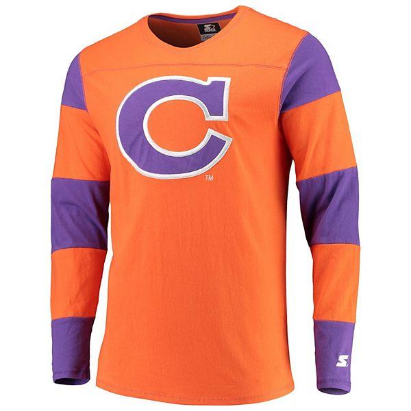 Men's Starter Orange/Purple Clemson Tigers Field Jersey Long Sleeve T-Shirt
