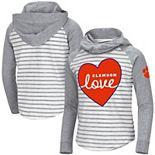 Girls Youth Colosseum White/Heathered Gray Clemson Tigers Robin Striped Hoodie Long Sleeve Raglan T-Shirt