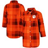 Girls Toddler Colosseum Orange Clemson Tigers Scooter Plaid Button-Up Dress