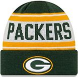 Youth New Era Green/White Green Bay Packers Stated Cuffed Knit Hat