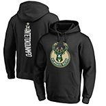 Men's Fanatics Branded Giannis Antetokounmpo Black Milwaukee Bucks Backer Name & Number Pullover Hoodie