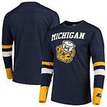 Men's Starter Navy/Maize Michigan Wolverines Old School Football Long Sleeve T-Shirt