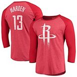 Men's Majestic Threads James Harden Red Houston Rockets Name & Number Tri-Blend Raglan 3/4-Sleeve T-Shirt