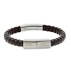 """1913 Men's Brown Leather & Stainless Steel """"The Lord's Prayer"""" Bracelet"""