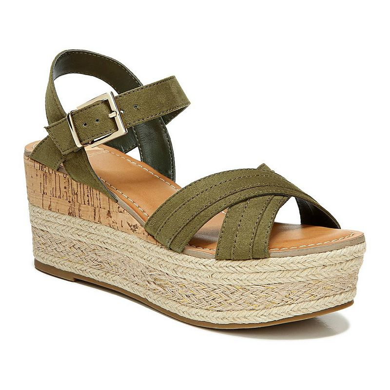 Flirty and chic, these Pounce wedge sandals from Fergalicious takes any look to the next level! Flirty and chic, these Pounce wedge sandals from Fergalicious takes any look to the next level! SHOE FEATURES Microsuede upper in a wedge sandal style with an open toe Instep strap with adjustable metallic buckle closure Traction sole for extra stability SHOE CONSTRUCTION Synthetic, fabric upper Manmade lining Manmade outsole SHOE DETAILS Open toe Buckle closure Padded footbed Spot clean 1.4-in. platform height 3-in. heel height Size: 12. Color: Green. Gender: female. Age Group: adult.