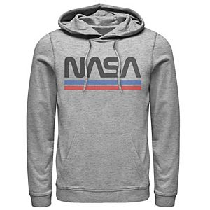 Men's NASA Red Blue Stripe Minimal Logo Vintage Graphic Hoodie