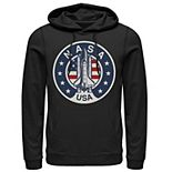 Men's NASA USA Shuttle Rocket American Flag Logo Graphic Hoodie