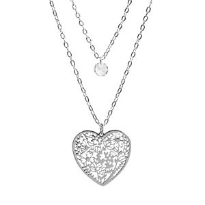LC Lauren Conrad Silver Tone & Clear Crystal Filigree Heart Layered Necklace