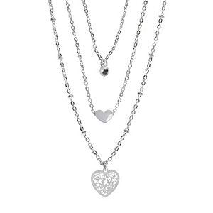LC Lauren Conrad Silver Tone Filigree Heart Multistrand Necklace