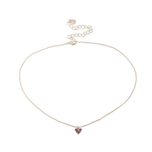 LC Lauren Conrad Rose Gold Tone & Pink Crystal Heart Choker Necklace