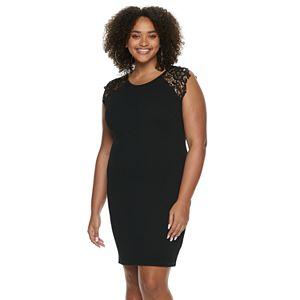 Juniors' Plus Size Almost Famous Crochet Raglan Sleeve Bodycon Dress