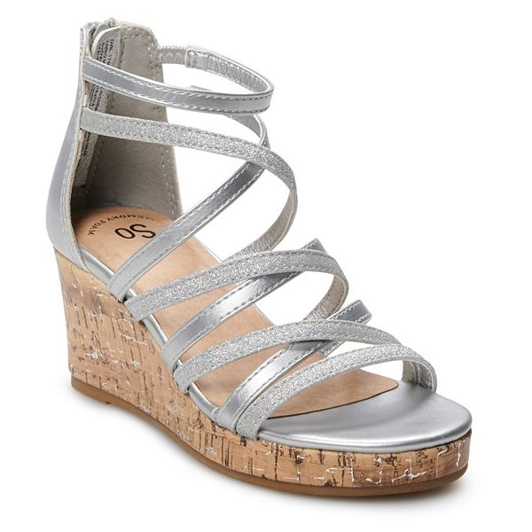 SO Lezlie Girls' Wedge Sandals, Girl's, Size: 13, Silver