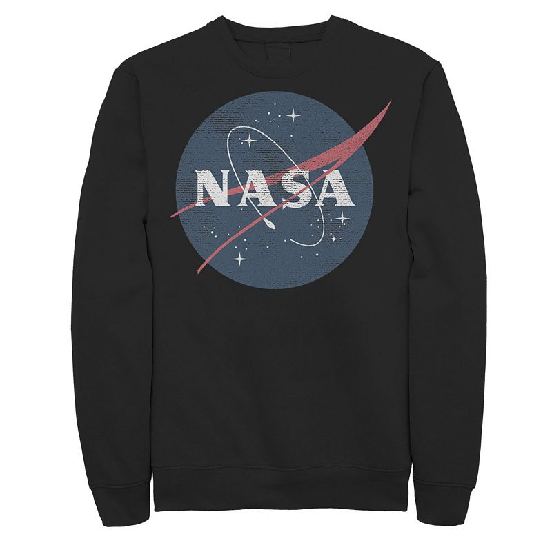 Men's NASA Distressed Simple Circle Logo Graphic Fleece Pullover, Size: Large, Black