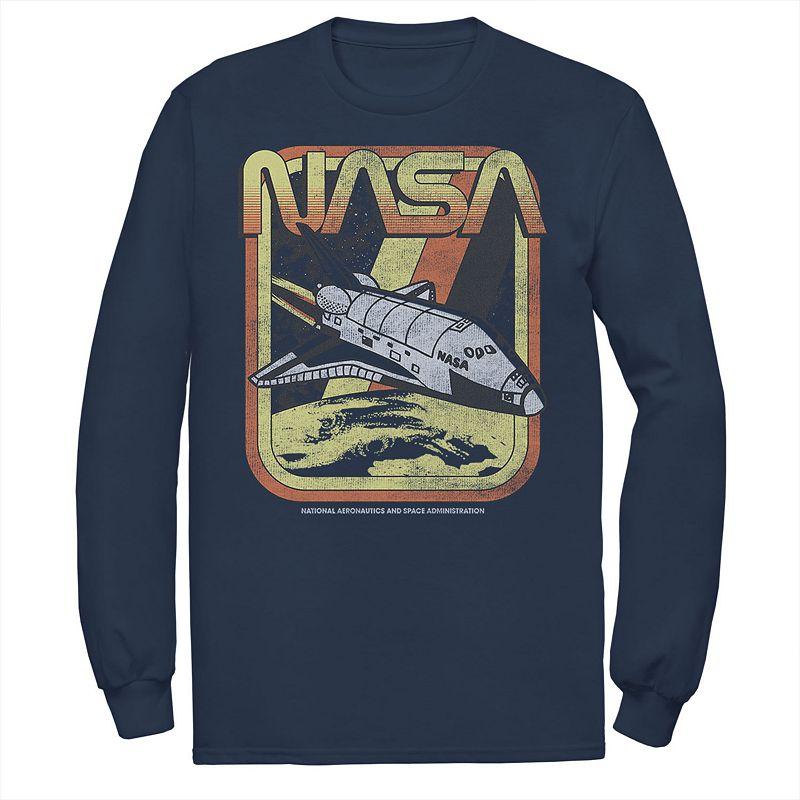 Men's NASA Retro Rocket Poster Long Sleeve Graphic Tee. Size: Small. Blue