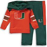 Newborn & Infant Orange/Green Miami Hurricanes Touch Down Hoodie and Pant Set