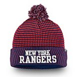Men's Fanatics Branded Red/Royal New York Rangers Waffle Heavy Cuffed Knit Hat With Pom