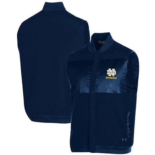 Men's Under Armour Navy Notre Dame Fighting Irish Canvas Bomber Full-Zip Vest