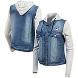 Women's Antigua Blue Philadelphia 76ers Swag Jean Bomber Jacket