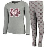 Youth Heathered Gray Mississippi State Bulldogs Long Sleeve T-Shirt & Pant Sleep Set