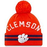 Men's New Era Orange Clemson Tigers Arch Cuffed Knit Hat With Pom