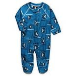 Newborn Blue Minnesota Timberwolves Zip-Up Raglan Sleeper