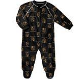 Infant Black Vegas Golden Knights Team Print Raglan Zip Coverall