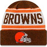 Youth New Era Brown/White Cleveland Browns Stated Cuffed Knit Hat