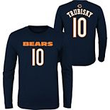 Youth Mitchell Trubisky Navy Chicago Bears Mainliner Name & Number Long Sleeve T-Shirt