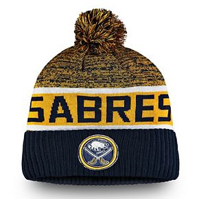 Men's Fanatics Branded Navy Buffalo Sabres Authentic Pro Rinkside Goalie Cuffed Knit Hat With Pom