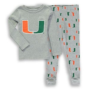 Toddler Heathered Gray Miami Hurricanes Long Sleeve T-Shirt & Pant Sleep Set