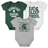 Newborn & Infant Green/White/Heathered Gray Michigan State Spartans Eat, Sleep & Drool Football 3-Piece Bodysuit Set