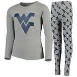 Youth Heathered Gray West Virginia Mountaineers Long Sleeve T-Shirt & Pant Sleep Set