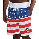 Men's G-III Sports by Carl Banks Red/White Pittsburgh Penguins Patriotic Swim Trunks