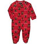 Infant Red Chicago Blackhawks Team Print Raglan Zip Coverall