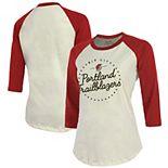 Portland Trail Blazers Majestic Threads Women's Softhand 3/4-Sleeve Raglan T-Shirt - Cream/Red