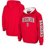 Youth Colosseum Red Wisconsin Badgers 2-Hit Team Pullover Hoodie