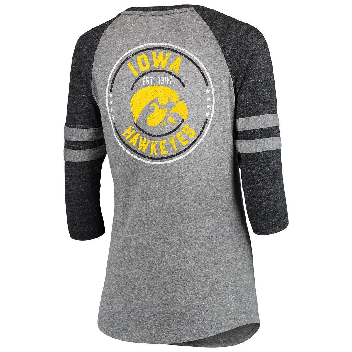 Women's 5th & Ocean by New Era Heathered Gray/Black Iowa Hawkeyes Lace Up 3/4-Sleeve Tri-Blend T-Shirt RaEWn