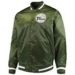 Men's Starter Green Philadelphia 76ers Satin Full-Snap Jacket